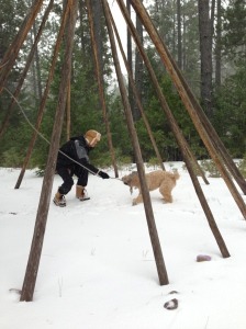 Winter up near Weed, CA, the teepee is down but the landlord still likes to have fun.